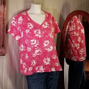 White Stag Pink Print Short Sleeve blouse
